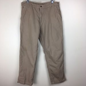 Carhartt Mens 38x32 Washed Duck Work Pants Tan